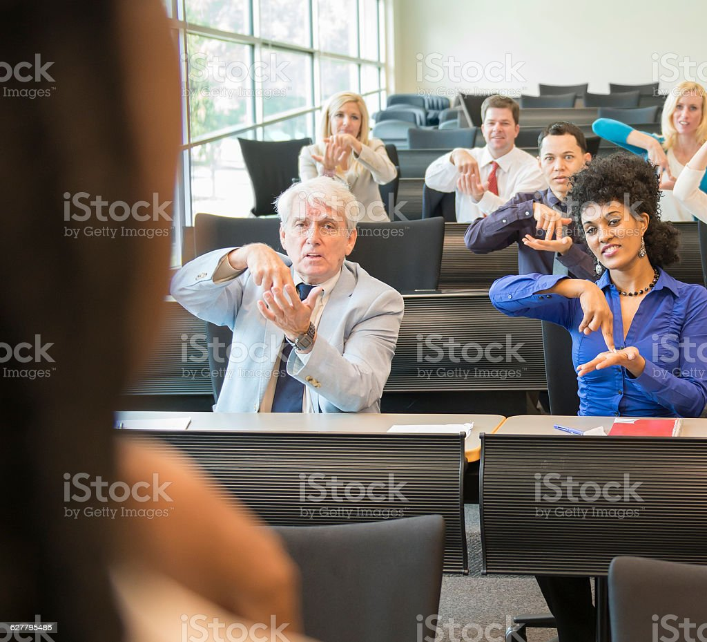 Teaching in ASL Class stock photo