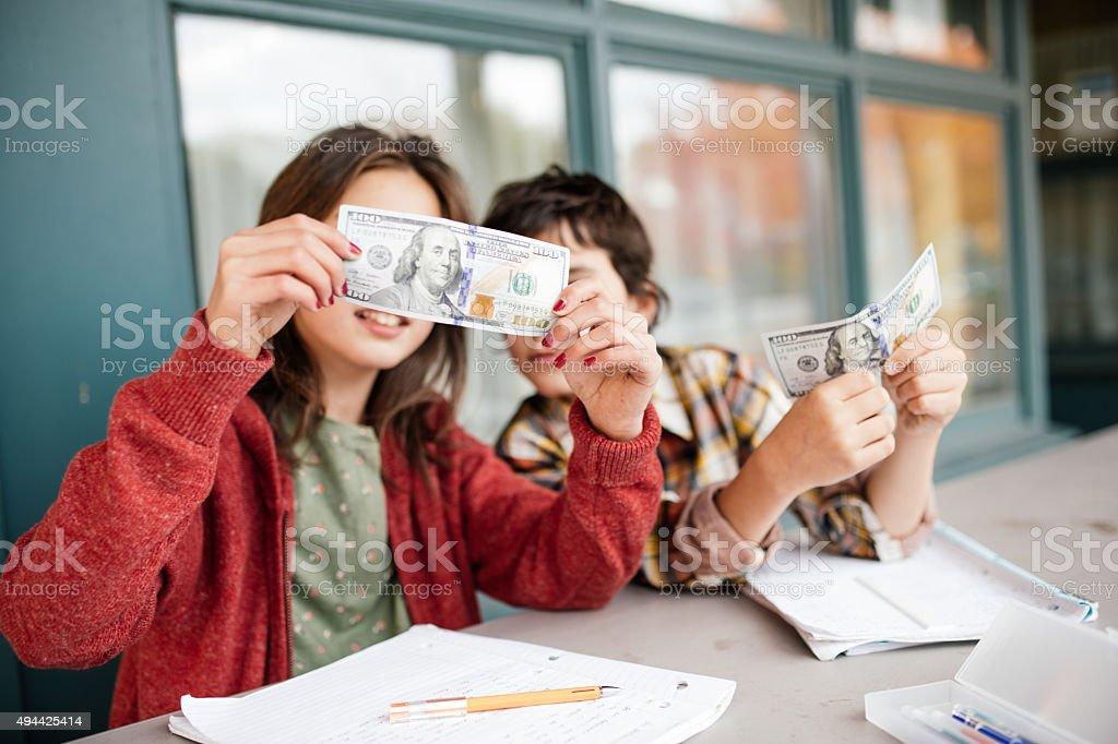 Teaching kids about money stock photo