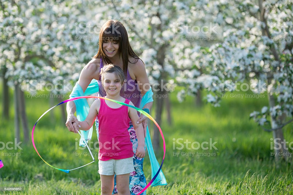 Teaching Rhythmic Gymnastics stock photo