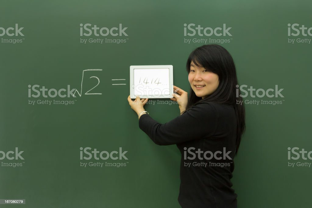 Teaching with a tablet pc royalty-free stock photo