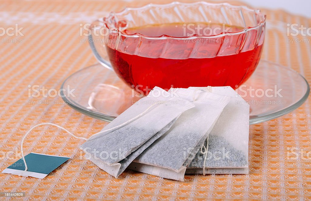 Teacup and tea bags royalty-free stock photo