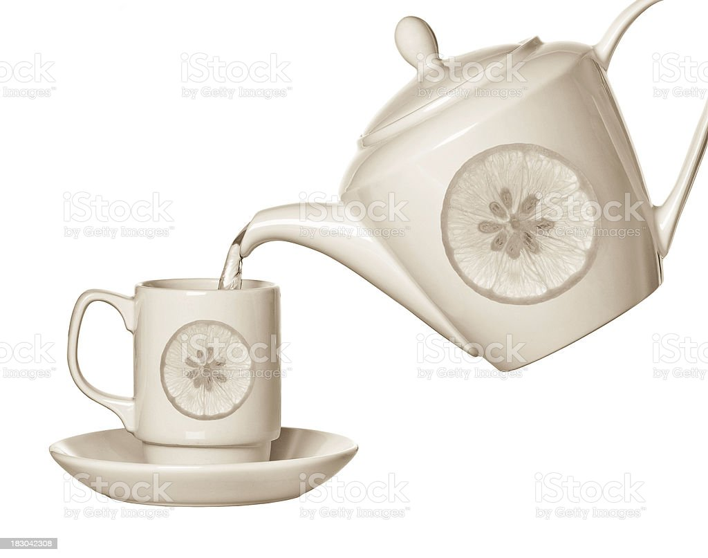 Teacup and teapot royalty-free stock photo