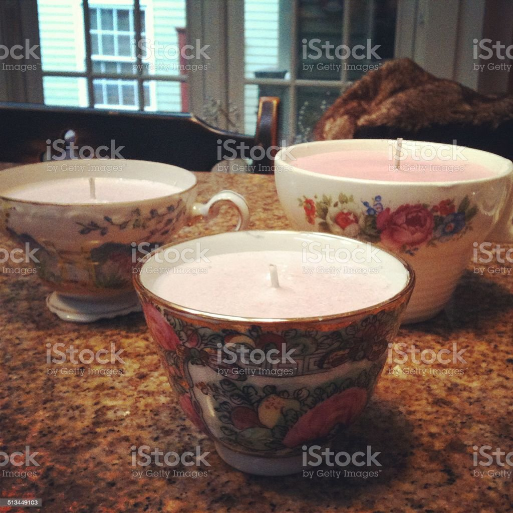 Teacup Candles royalty-free stock photo