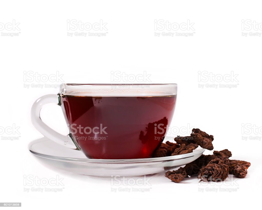 Teacup of chinese puer tea stock photo