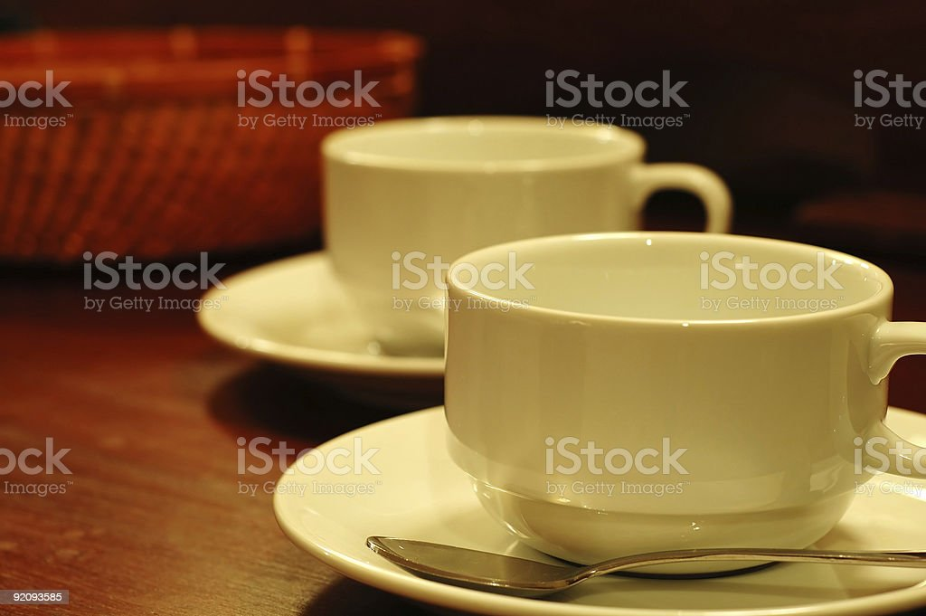 Teacups and basket stock photo