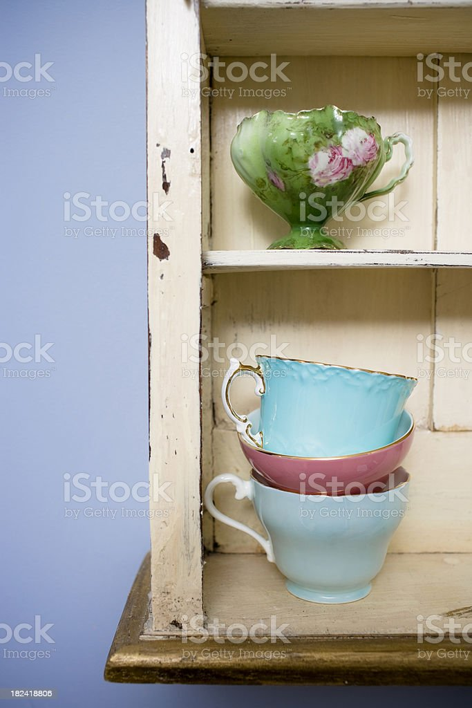 Teacups on the Shelf royalty-free stock photo