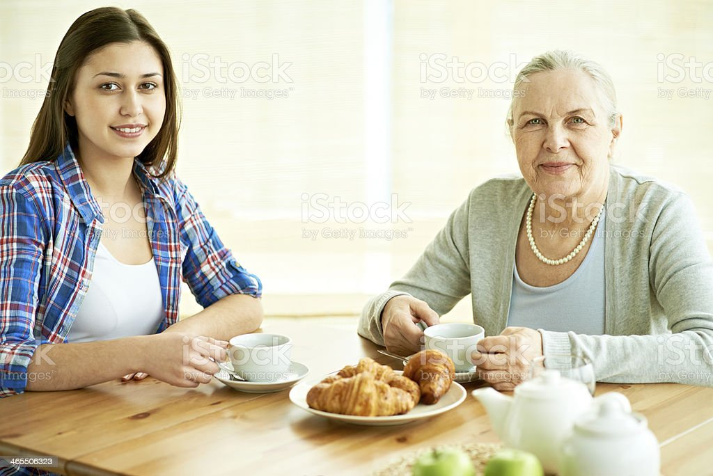 Tea-drinking with granny royalty-free stock photo