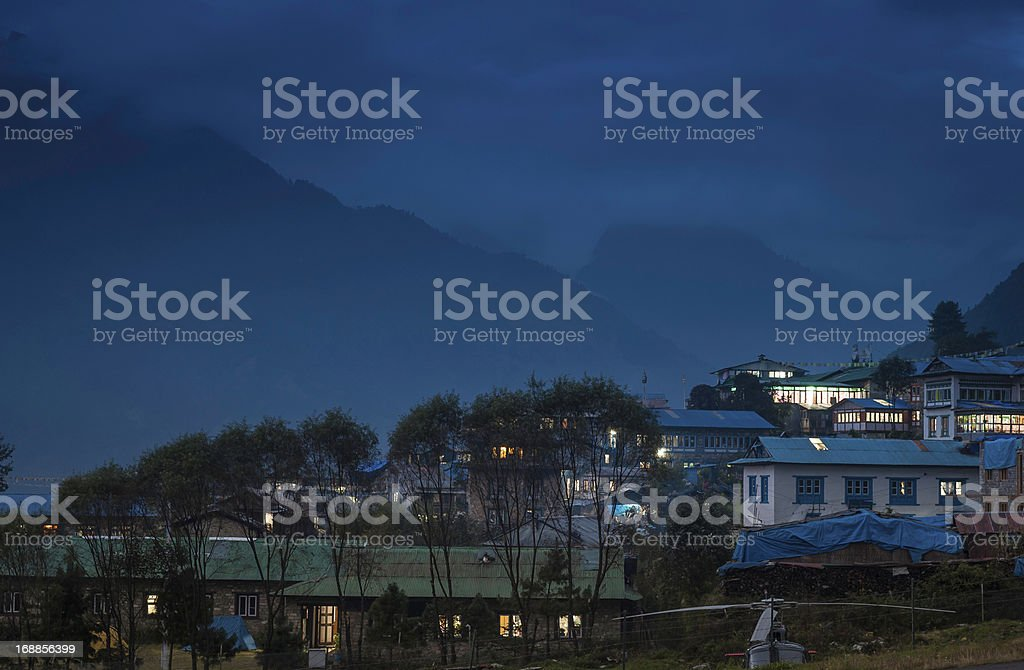 Teahouse lodges illuminated high in the Himalayas Nepal royalty-free stock photo