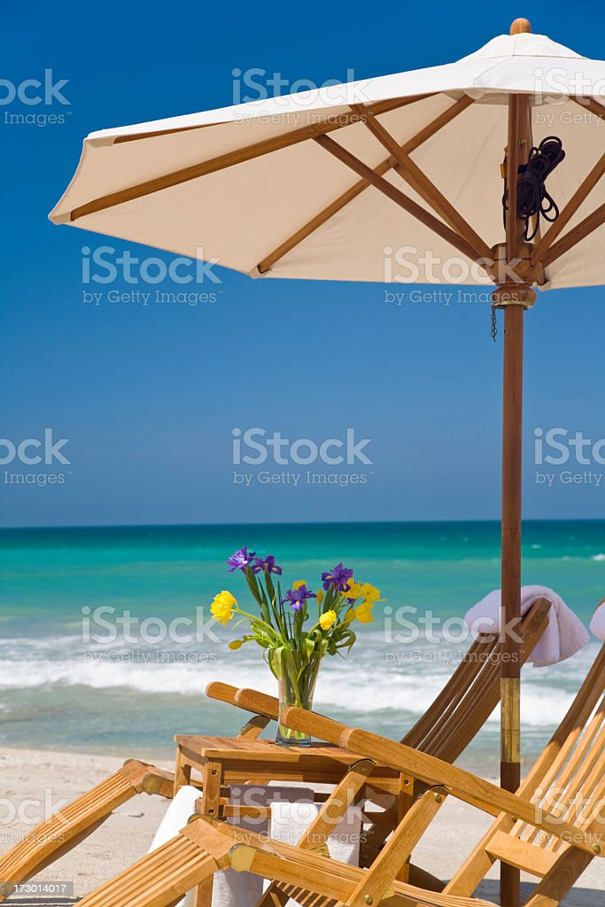teak beach chairs royalty-free stock photo
