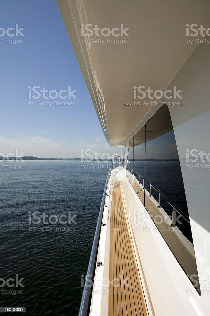 teak deck motor yacht royalty-free stock photo