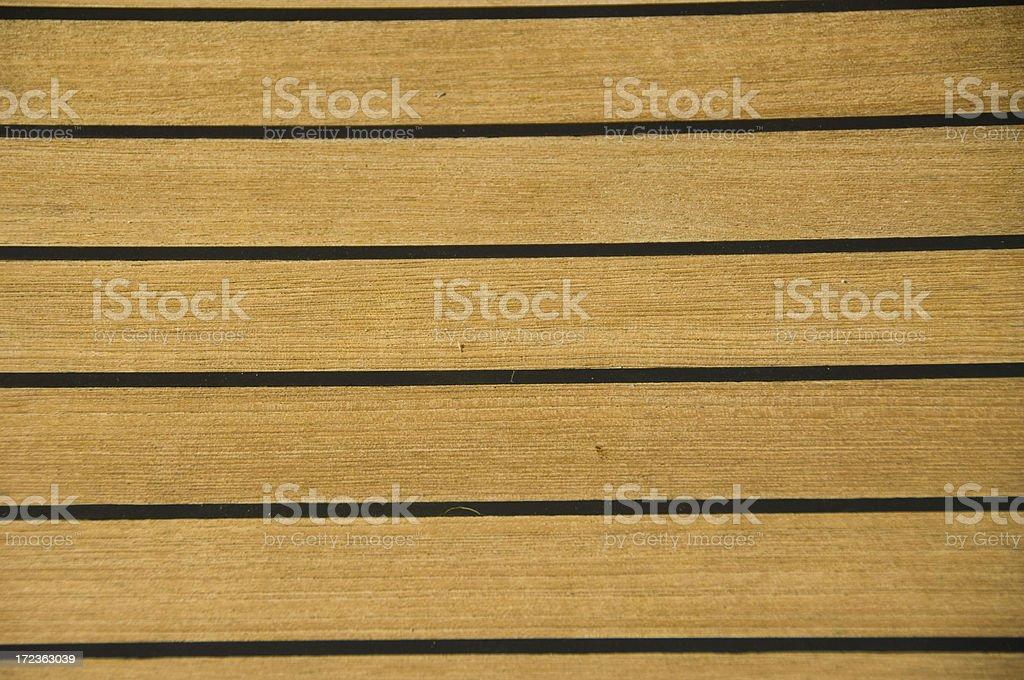teak deck on boat stock photo