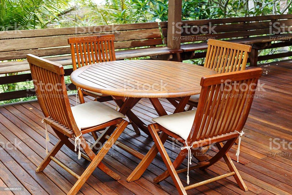 Teak wood furniture stand on the terrace stock photo
