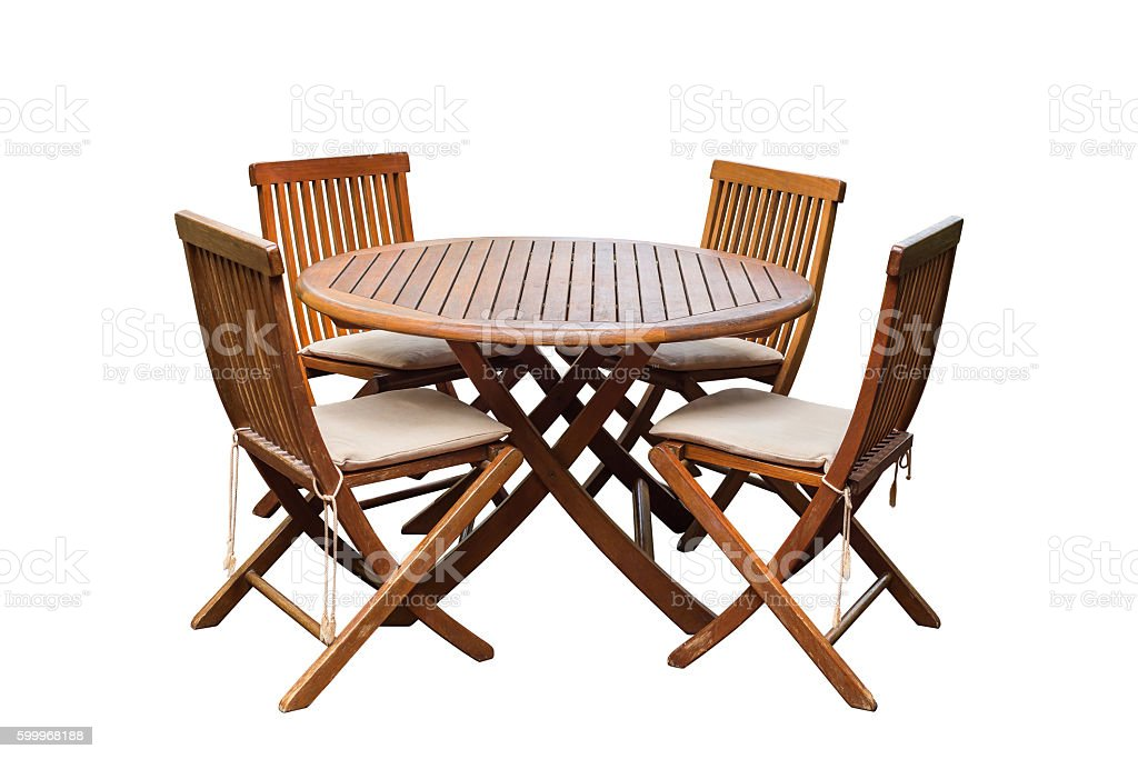Teak wood table and chairs isolated on white background stock photo
