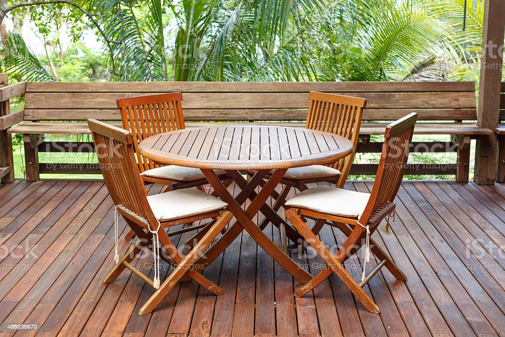 Teakwood furniture set on the porch  stock photo