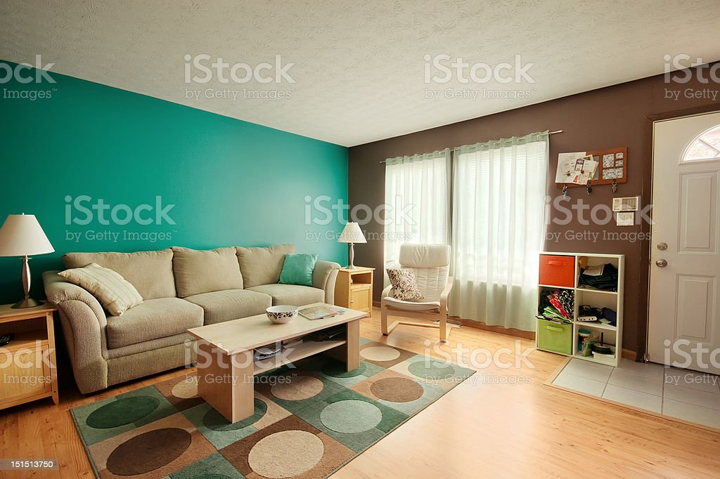 Teal and Brown Family Room stock photo