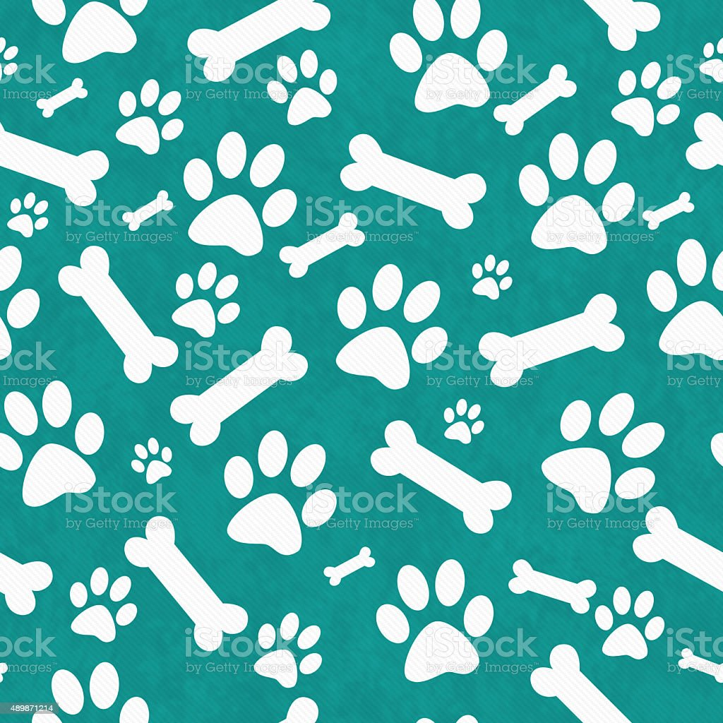 Teal and White Dog Paw Prints and Bones Repeat Background stock photo