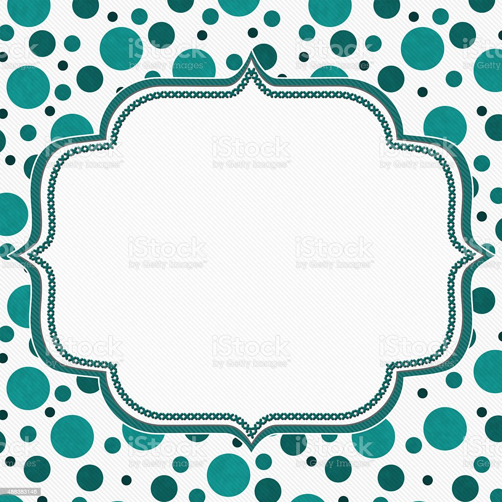 Teal and White Polka Dot Frame Background stock photo