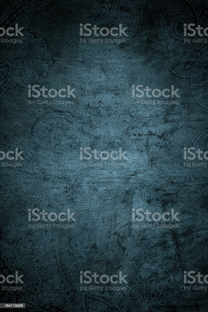 Teal Blue Paisley Background stock photo