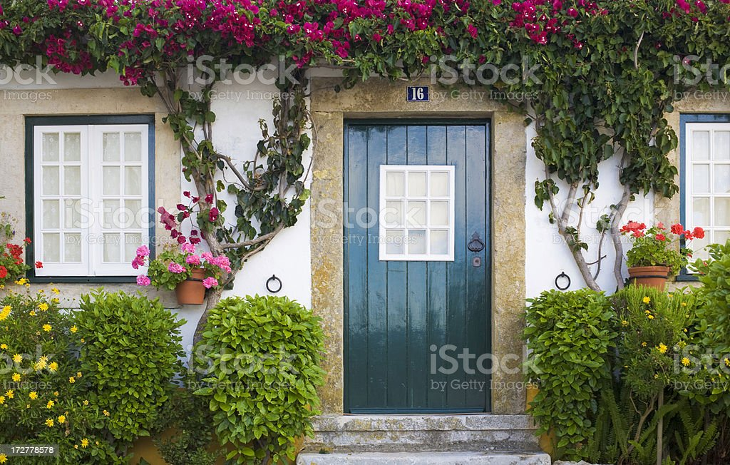 Teal front door of a cozy house with plants and flowers royalty-free stock photo