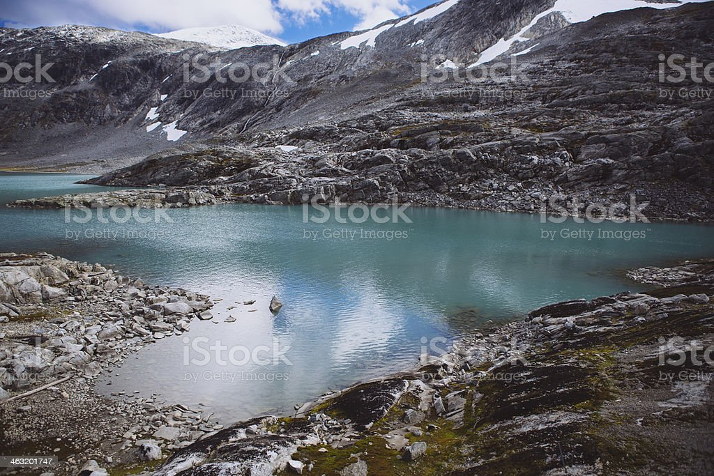 Teal Lake - Old Strynefjell Mountain Road, Norway stock photo