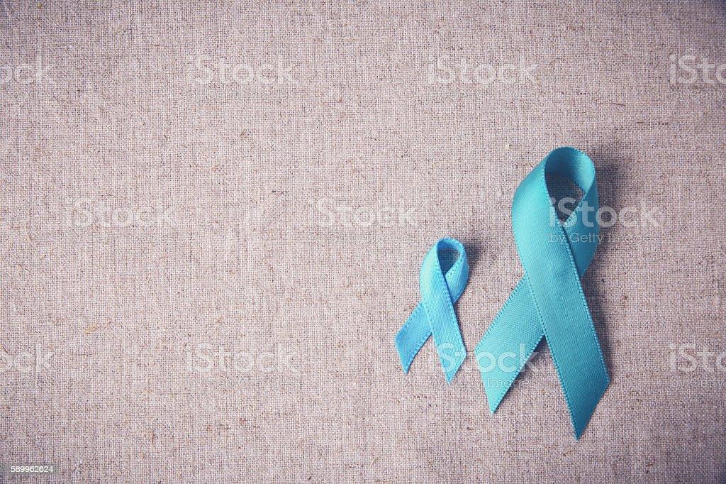 Teal Ribbons background, Ovarian Cancer, cervical Cancer, Kidney Cancer awareness stock photo