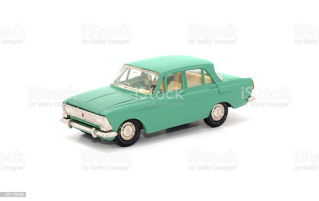 Teal toy car on white background stock photo