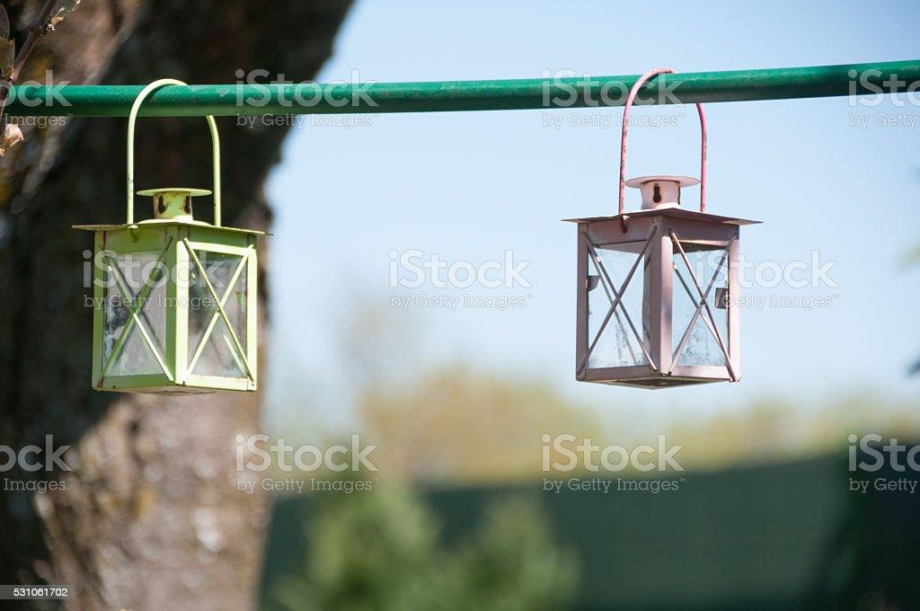 Tealight lamp hanging in the garden stock photo