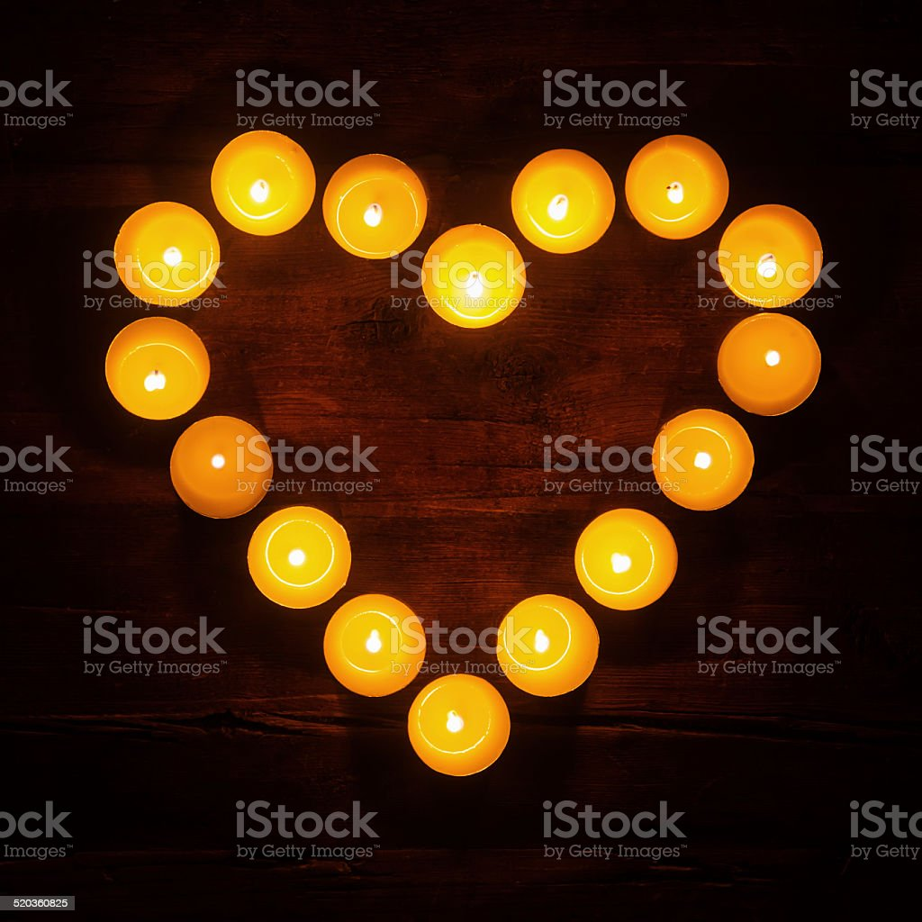 tealights in a heart shape stock photo