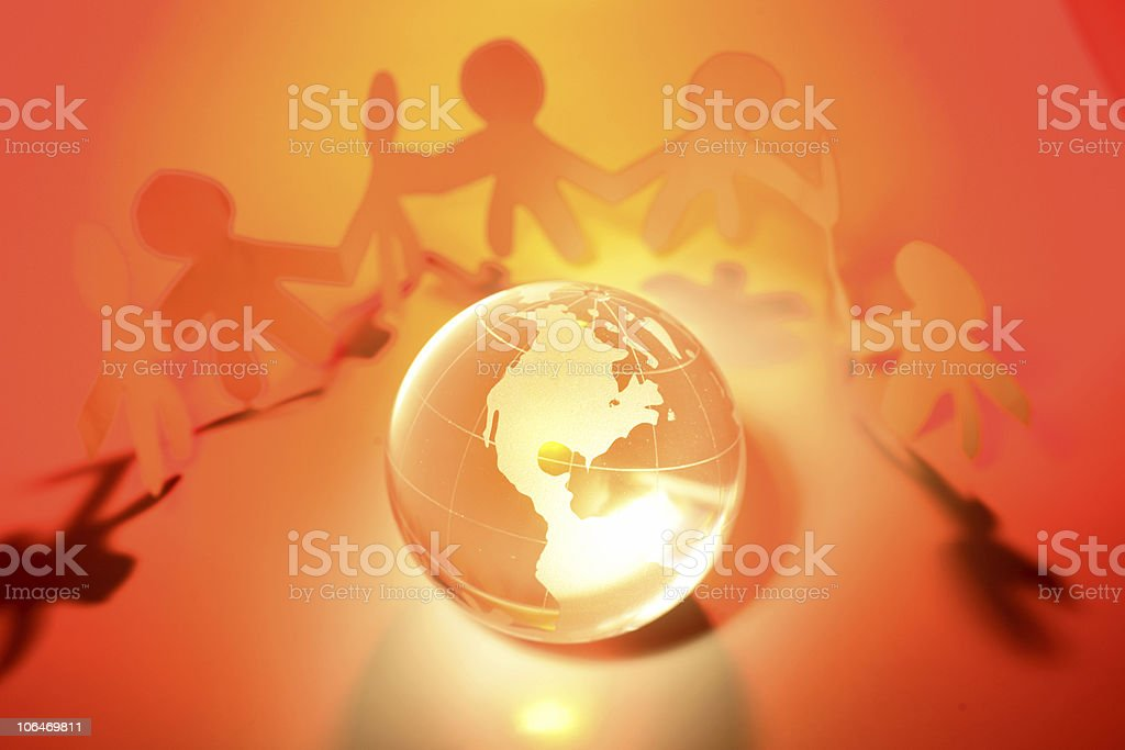 Team and globe royalty-free stock photo