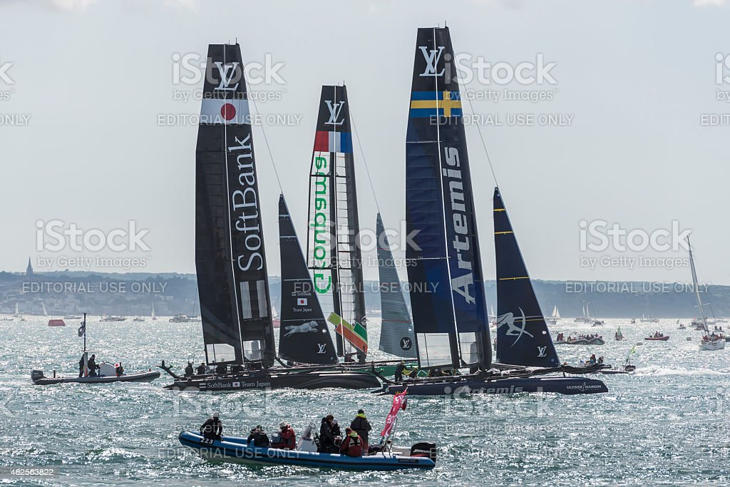 Team Artemis, Softbank, and Groupama America's Cup boats stock photo