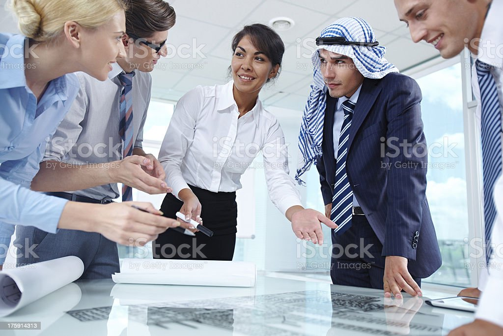 Team at discussion royalty-free stock photo
