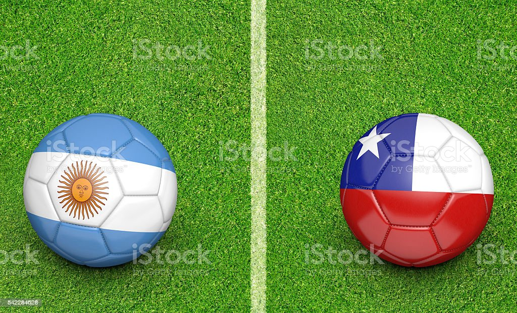 Team balls for Argentina vs Chile football tournament match stock photo