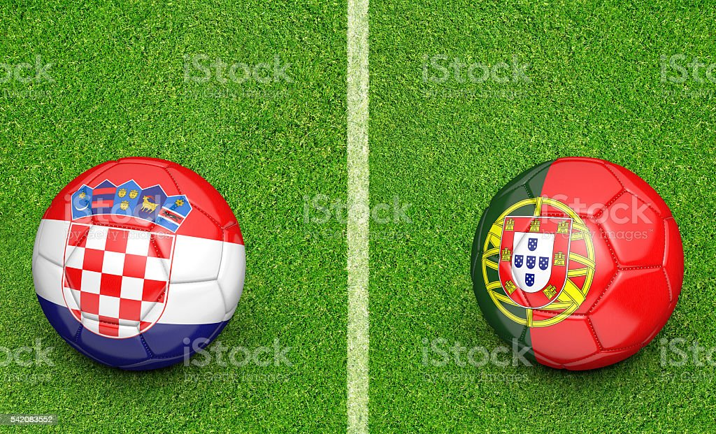 Team balls for Croatia vs Portugal football tournament match stock photo