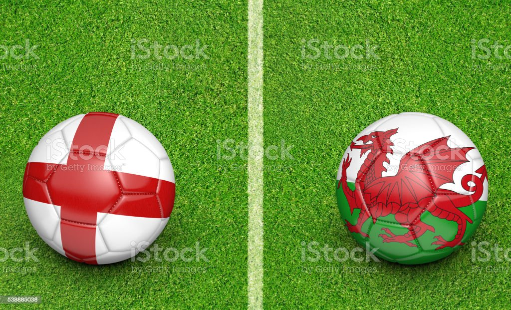 Team balls for England vs Wales football tournament match stock photo