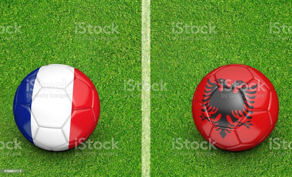 Team balls for France vs Albania football tournament match stock photo