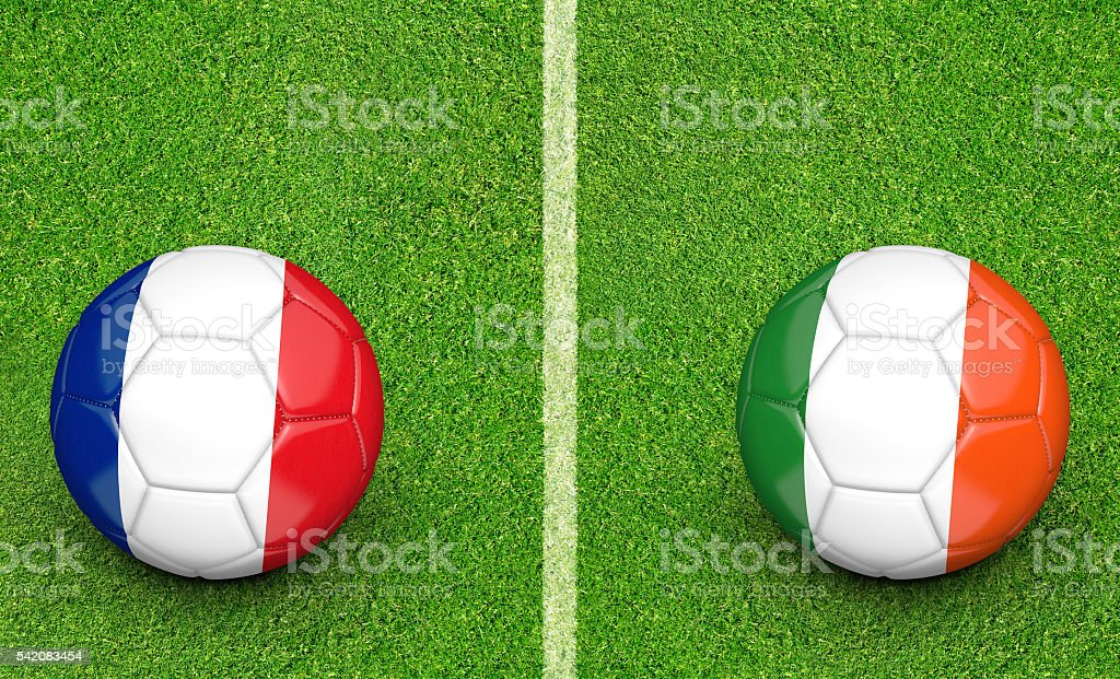 Team balls for France vs Ireland football tournament match stock photo