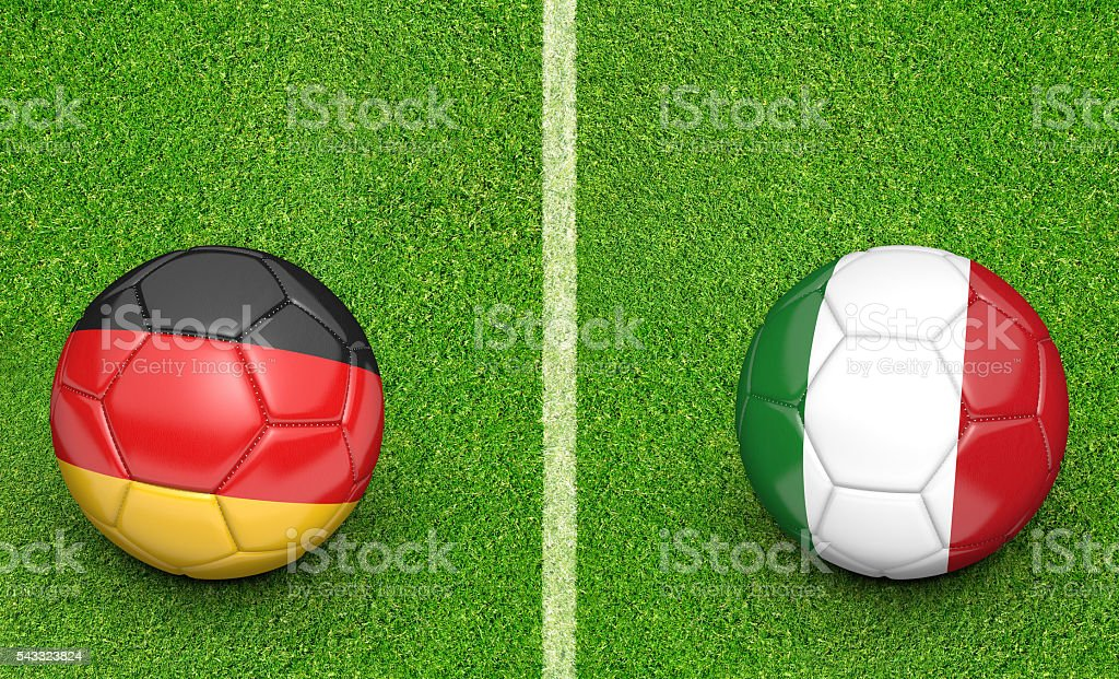 Team balls for Germany vs Italy football tournament match stock photo