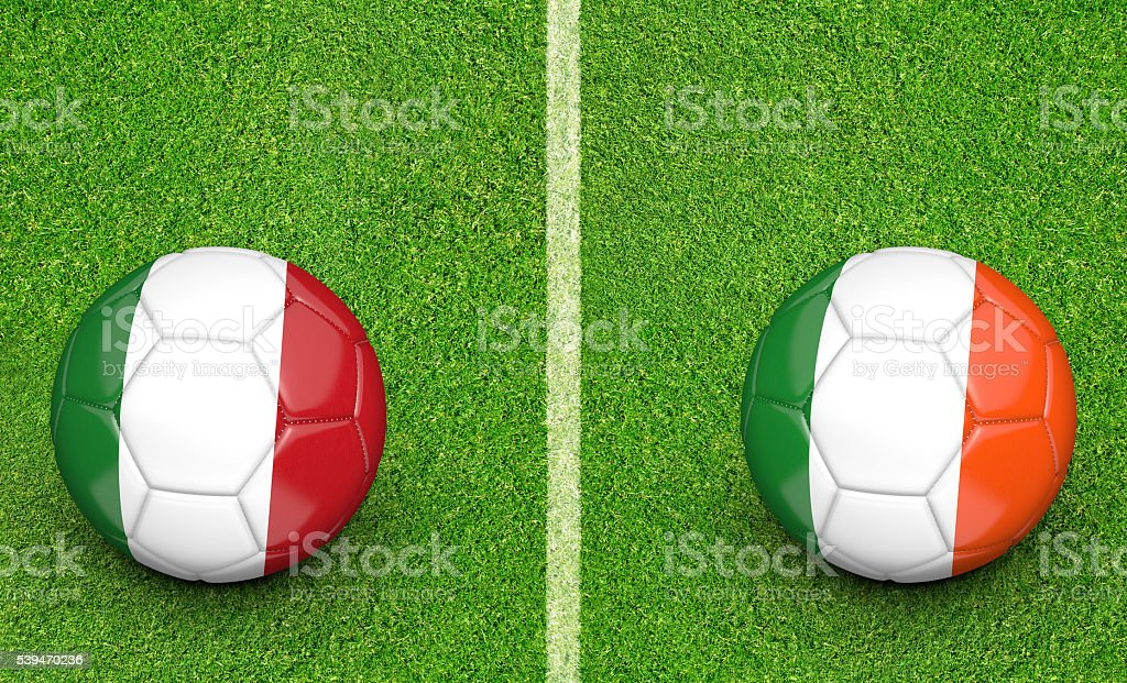 Team balls for Italy vs Ireland football tournament match stock photo