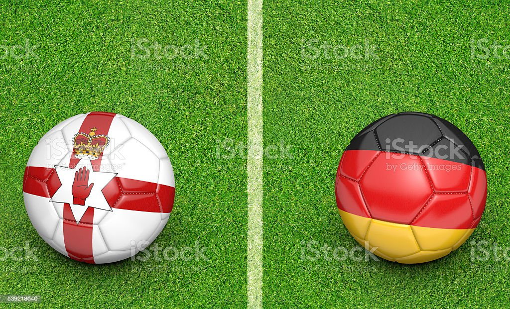 Team balls for Northern Ireland vs Germany football tournament match stock photo