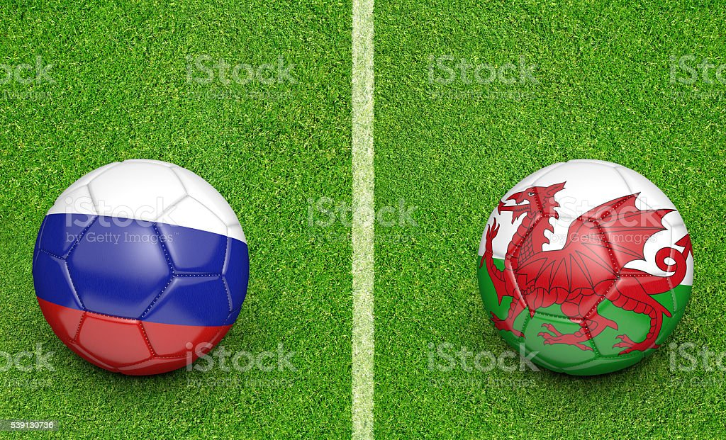 Team balls for Russia vs Wales stock photo