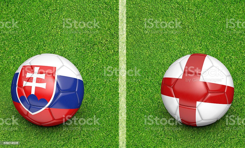 Team balls for Slovakia vs England football tournament match stock photo