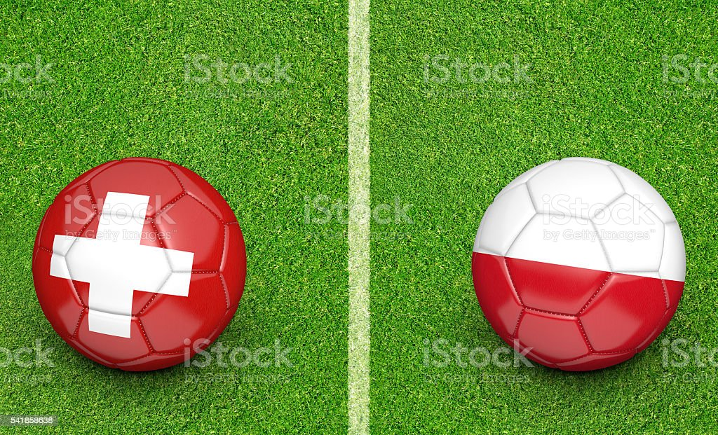 Team balls for Switzerland vs Poland football tournament match stock photo