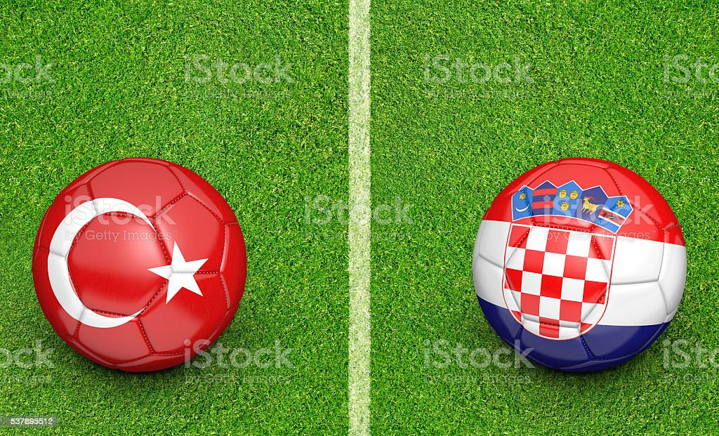 Team balls for Turkey vs Croatia football tournament match stock photo