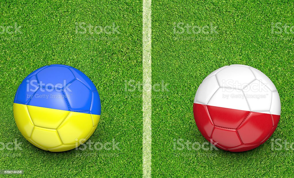 Team balls for Ukraine vs Poland football tournament match stock photo