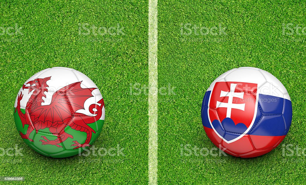 Team balls for Wales vs Slovakia football tournament match stock photo