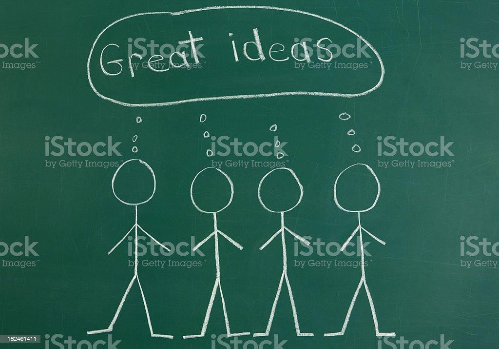 Team Brainstorming Chalk Drawing royalty-free stock photo