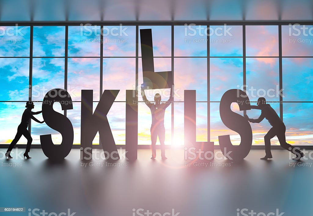 Team building a the word skills stock photo
