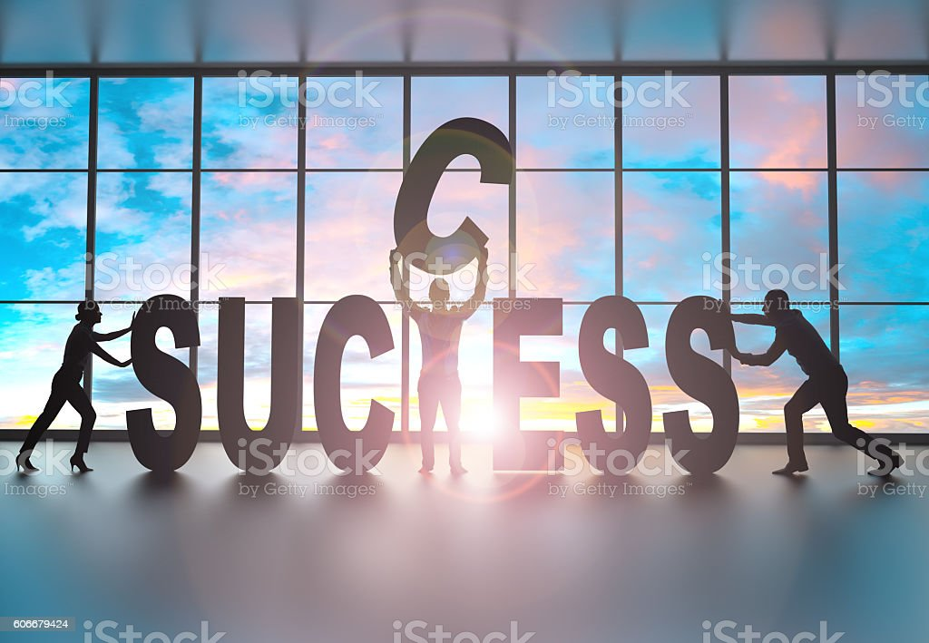 Team building the word success stock photo