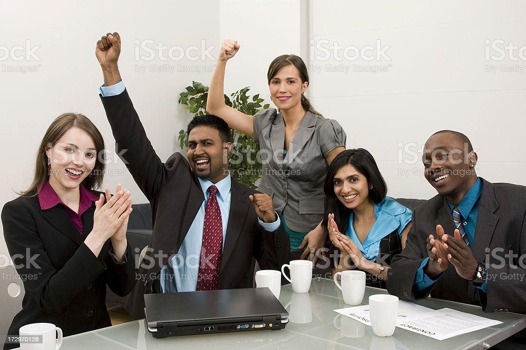 Team cheering their success stock photo