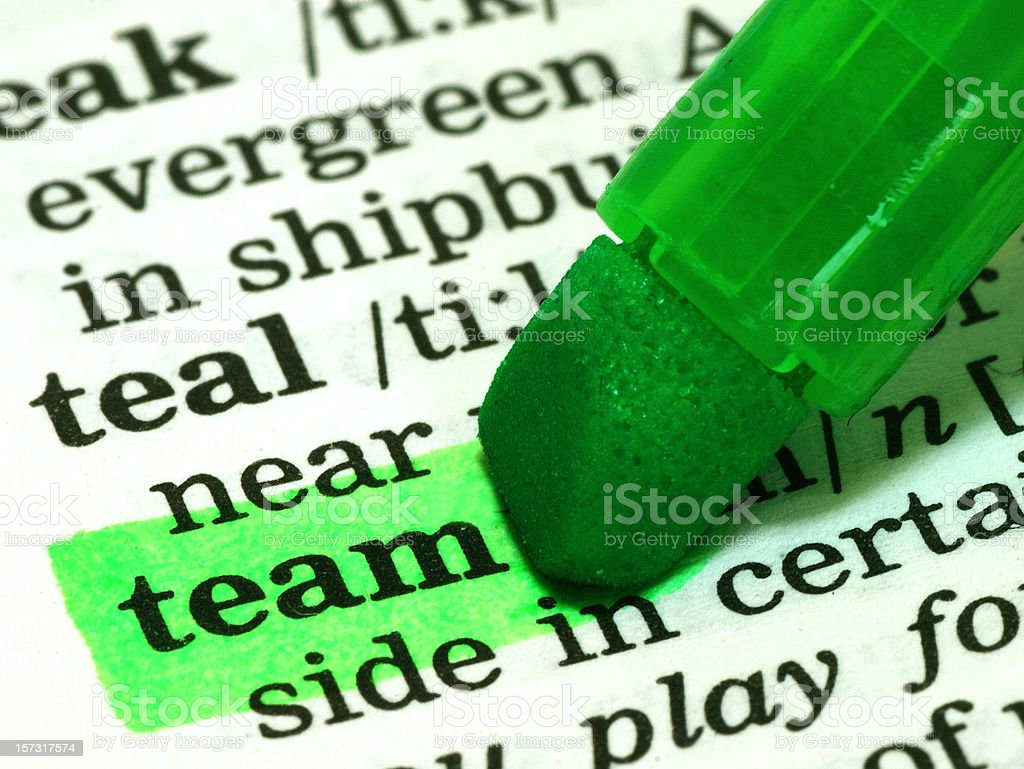team definition word highlighted in dictionary royalty-free stock photo